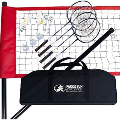 Park & Sun Sports Portable Outdoor Badminton Net System with Carrying Bag and Accessories